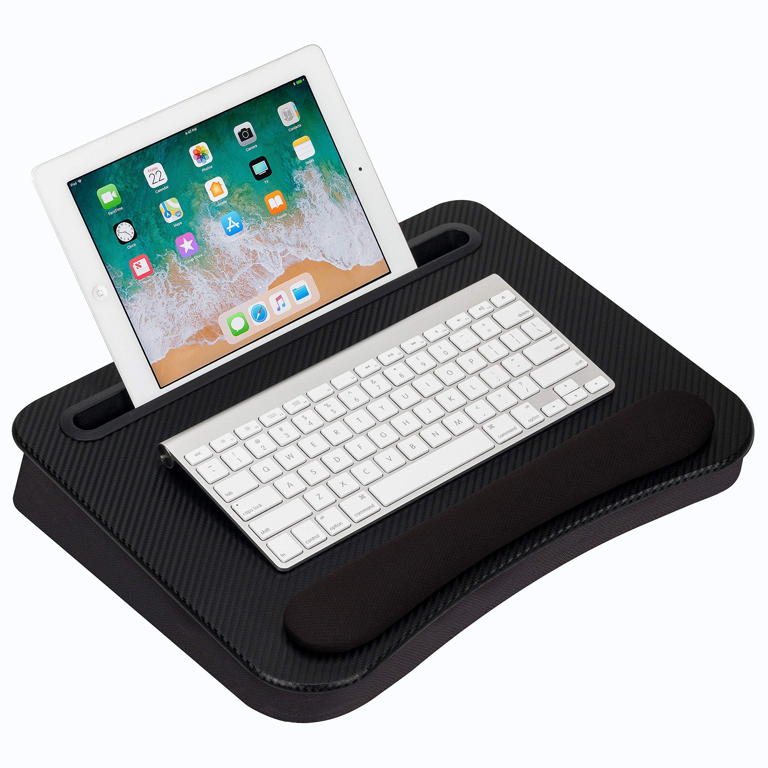 LapGear Smart-e Memory Foam Lap Desk - Black Carbon - Fits up to 15.6 Inch laptops and Most Tablet Devices - Style No. 91338