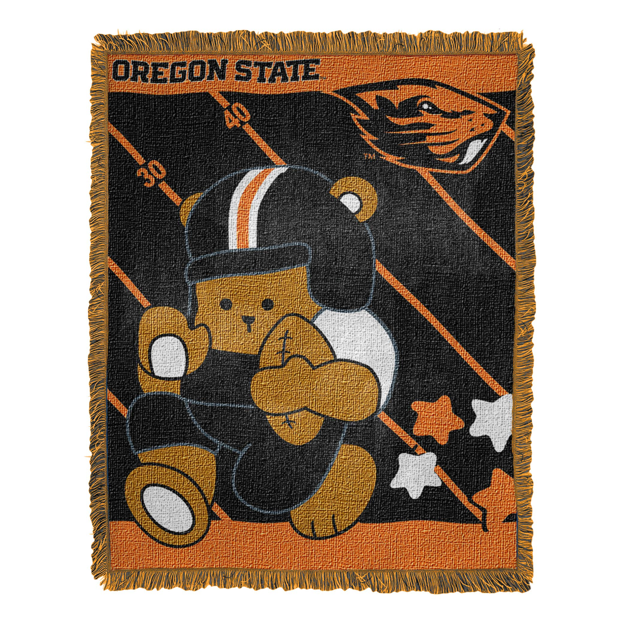 """Officially Licensed NCAA """"Fullback"""" Jacquard Woven Baby Throw Blanket, 36"""" x 46"""", Multi Color"""