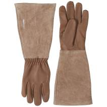 AmazonBasics Leather Gardening Gloves with Forearm Protection - Brown, M