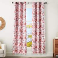 """AmazonBasics 100% Blackout Silky Soft Fabric Window Panel with Grommets and Thermal Insulated, Noise Reducing Blackout Liner - 42"""" x 95"""", Blush Watercolor Floral"""