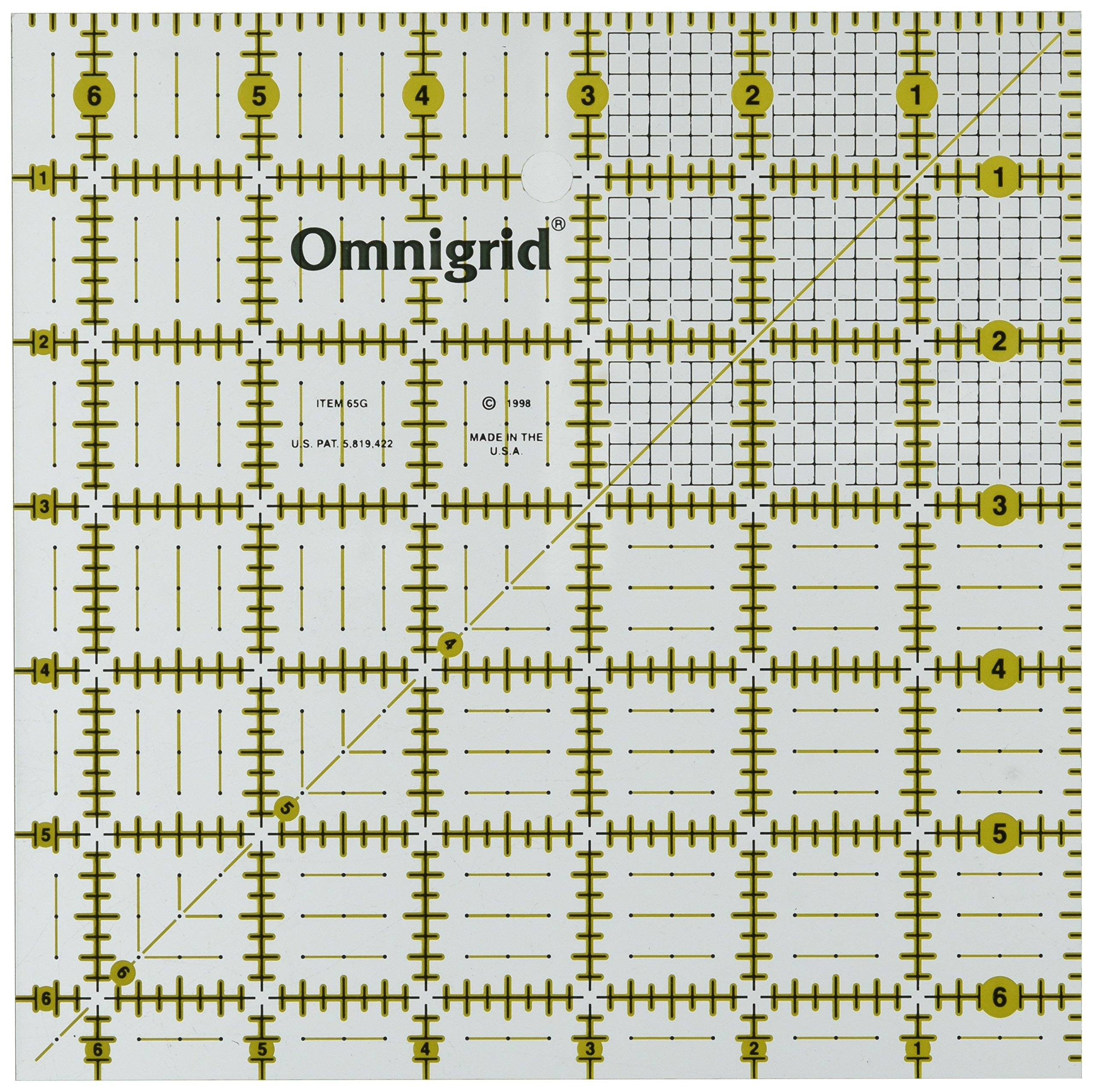 Omnigrid 6-1/2-Inch by 6-1/2-Inch Quilter's Square