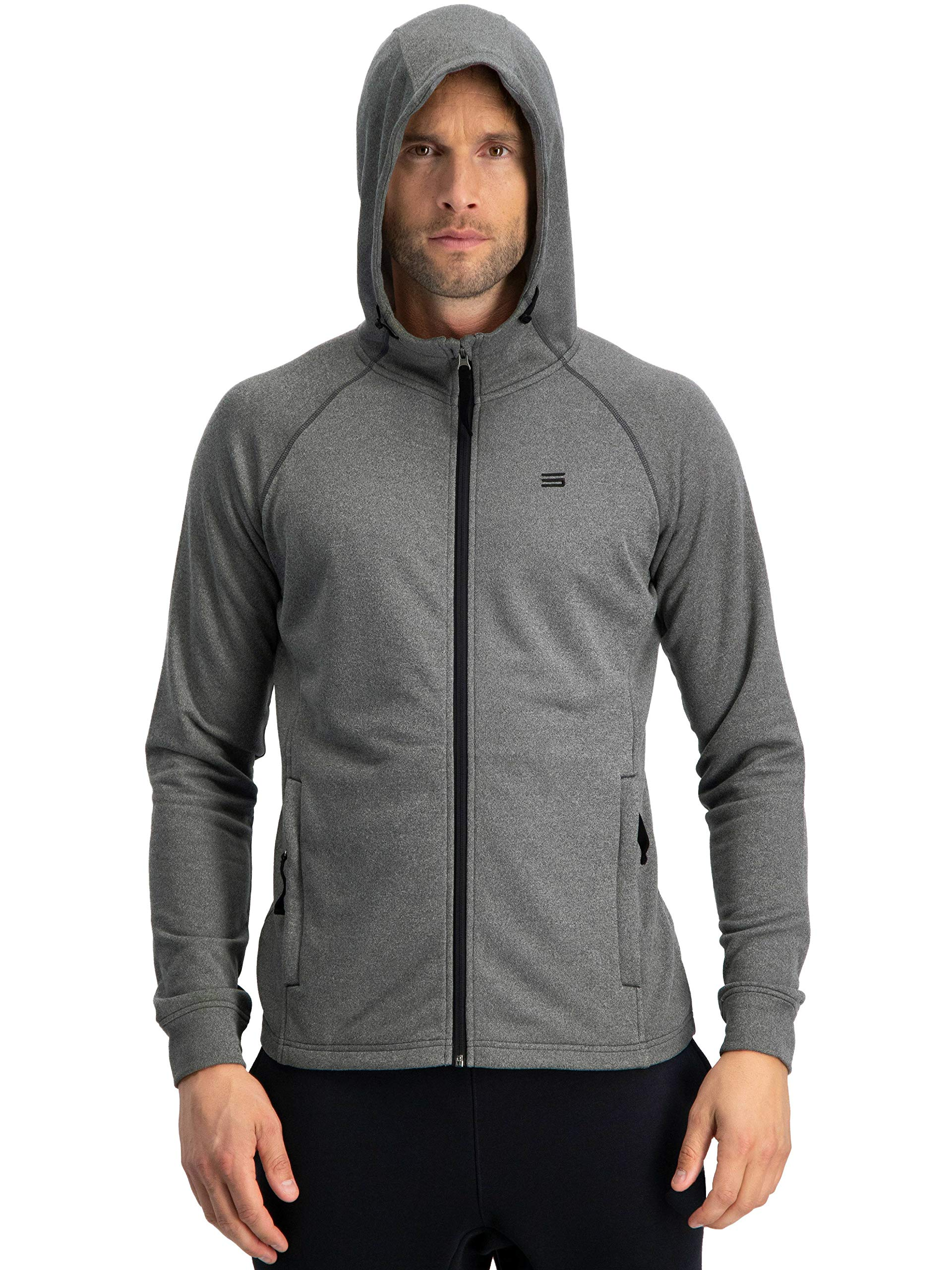 Three Sixty Six Sweatshirts for Men Zip Up Hoodie - Dry Fit Full Zip Jacket, French Terry Fabric