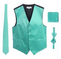 Gioberti Men's Formal 4pc Satin Vest Necktie Bowtie and Pocket Square