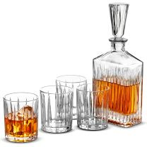 5-Piece Whiskey Decanter Set - Whiskey Decanter Set with Glasses & Beautiful Gift Box – Whiskey Glasses & Decanter Set, Christmas Whiskey Gifts Perfect for Whiskey Scotch Bourbon, Best Gifts for Dad