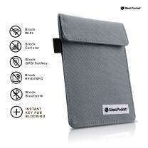 Silent Pocket Signal Blocking Faraday Key Fob Case - Car Anti Theft Device Shielding Against All Signal Types, Including RFID Blocking & Durable Faraday Bag, Fits Most Car Keyfobs (Charcoal Grey)