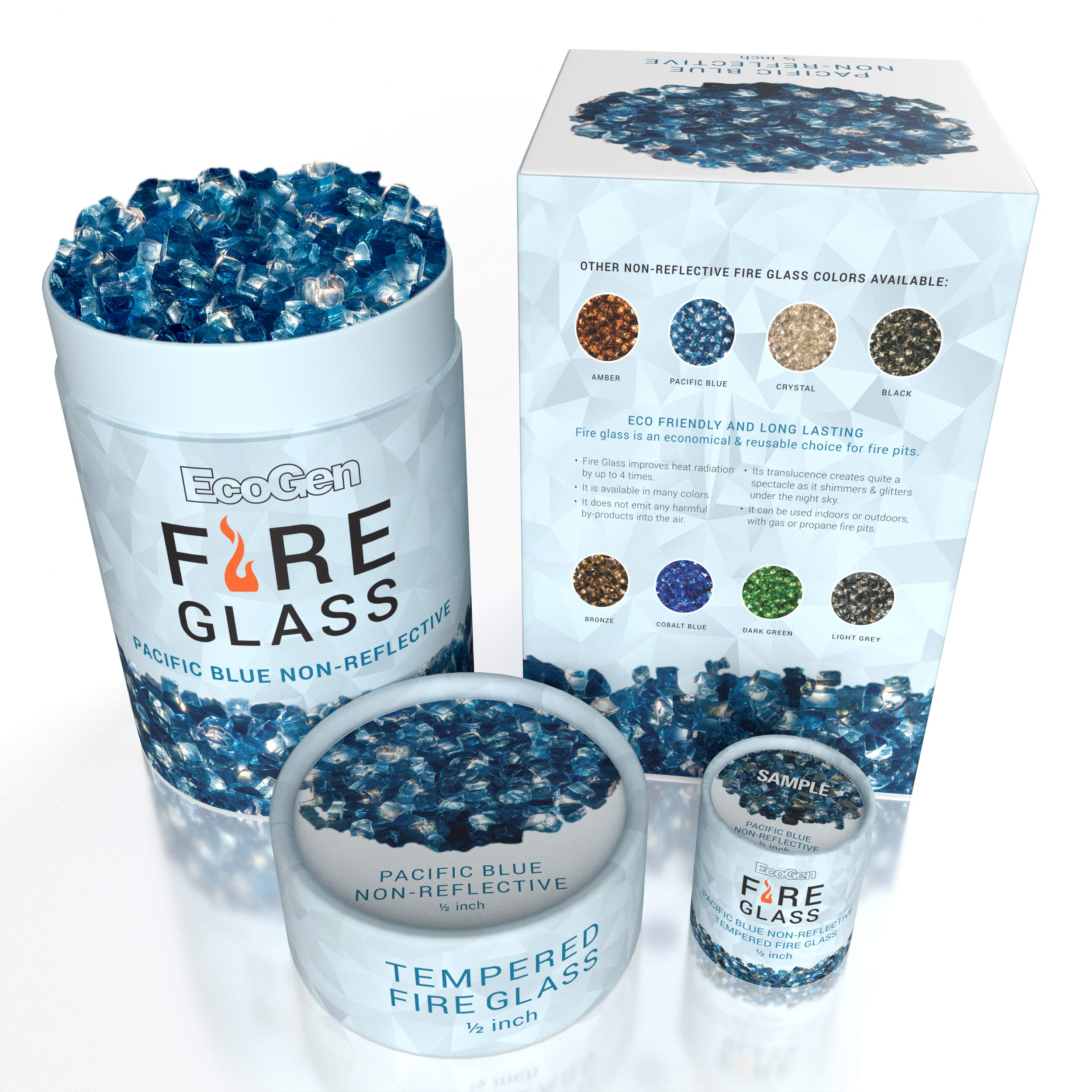 EcoGen Fire Glass Rocks for Outdoor Fire Pits and Indoor Fireplace, Color, Optimal Heat for Propane or Gas, Tempered and Reflective, Eco-Friendly Packaging, Pacific Blue 1/2 inch Non-Reflective 12 lbs
