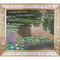 La Pastiche Water Lilies, Green And Violet Metallic Embellished Artwork By Claude Monet With Gold Mother Of Pearl Frame
