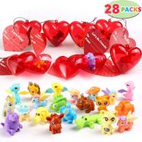 28 Packs Kids Valentine Assembling Toys Set Includes 28 Assembling Block Toy Filled Hearts and Valentine Cards for Kids Valentine Classroom Exchange Party Favors, Valentine Gift Exchange, Game Prizes and Carnivals Gift
