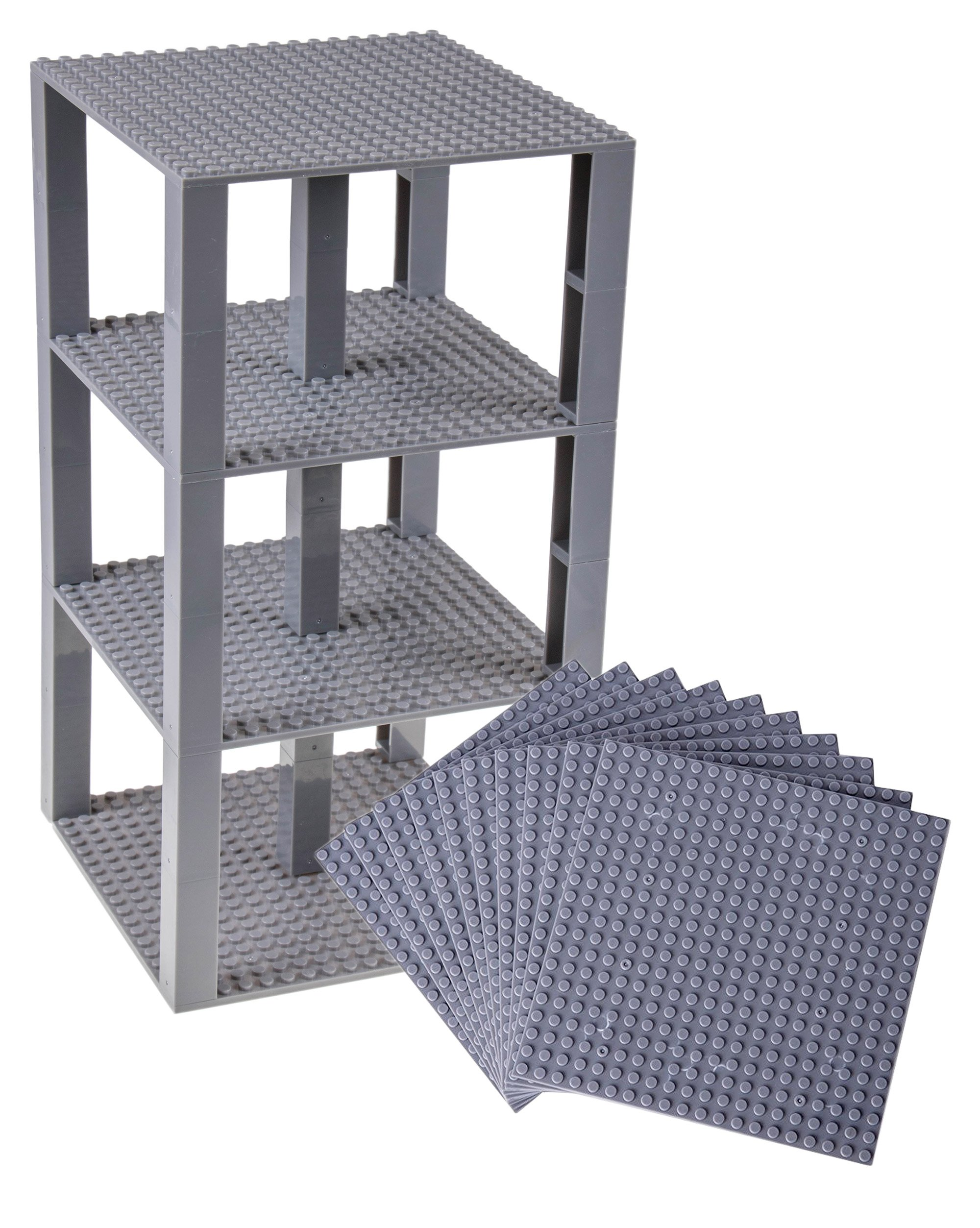 """Strictly Briks Classic Stackable Baseplates 6"""" x 6"""" Brik Tower 100% Compatible with All Major Brands   Building Bricks for Towers, Shelves and More   10 Base Plates & 80 Stackers  Gray"""