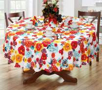 "Ruvanti Table Cloth 70"" Round 4-6 Seats, Premium Quality 100% Cotton Round Tablecloth, Washable,Reusable Table Cloths,Multi Color Flower Design for Buffet Table,Parties,Holiday Dinner,Wedding & More."