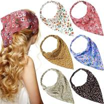 6 Pieces Floral Elastic Hair Scarf Headband Chiffon Head Kerchief Elastic Floral Printed Turban Boho Headbands Hair Bandanas with Hair Clips for Women Girls Hair Accessories (Boho Floral Patterns)