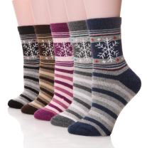 DoSmart Women's Winter Wool Socks Thick Thermal Warm Casual Crew Boot Socks-5 Pairs