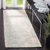 "Safavieh Bella Collection BEL115C Handmade Beige and Blue Premium Wool Runner (2'3"" x 9')"