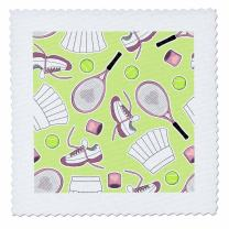 3dRose qs_172136_4 Cute Tennis Pattern Green-Quilt Square, 12 by 12-Inch