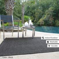 Rectangle Braided Rug 5' x 8' Homespice Black Black, Grey Indoor - Outdoor, Durable Eco Friendly Natural Fiber, Easy to Clean, Reversible, Handmade