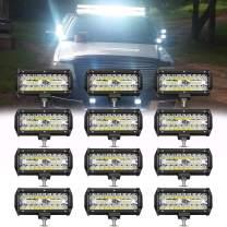 12PCS 7inch 120W Led Light bar Tri-Row Fog Lamps Flood Spot Rear bumper Front Grill Reverse Off road For Poineer Kawasaki Polaris Can Am Yamaha Chevy Dodge Ram Ford ATV SUV 4x4 4WD Boat Jeep Kubota