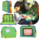 Kids Backseat Travel Tray Organizer Holds Crayons Markers an iPad Kindle or Other Tablet. Great for Road Trips and Travel used as a Lap Tray Writing Surface or as Access to Electronics for Kids Age 3+