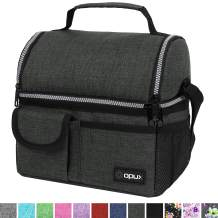 OPUX Insulated Dual Compartment Lunch Bag for Men, Women   Double Deck Reusable Lunch Pail Cooler Bag with Shoulder Strap, Soft Leakproof Liner   Large Lunch Box Tote for Work, School (Charcoal)