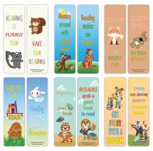 Creanoso Reading Reader Sayings Book Clip – Furry Animals Bookmarks (60-Pack) – Premium Gift Set – Awesome Bookmarks for Boys, Girls Teens – Six Bulk Assorted Bookmarks Designs – Incentive Rewards