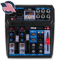 Professional Wireless DJ Audio Mixer - 6-Channel Bluetooth Compatible DJ Controller Sound Mixer w/DSP Effects, USB Audio Interface, Dual RCA in, XLR/1/4 Microphone in, Headphone Jack - Pyle PMX44T