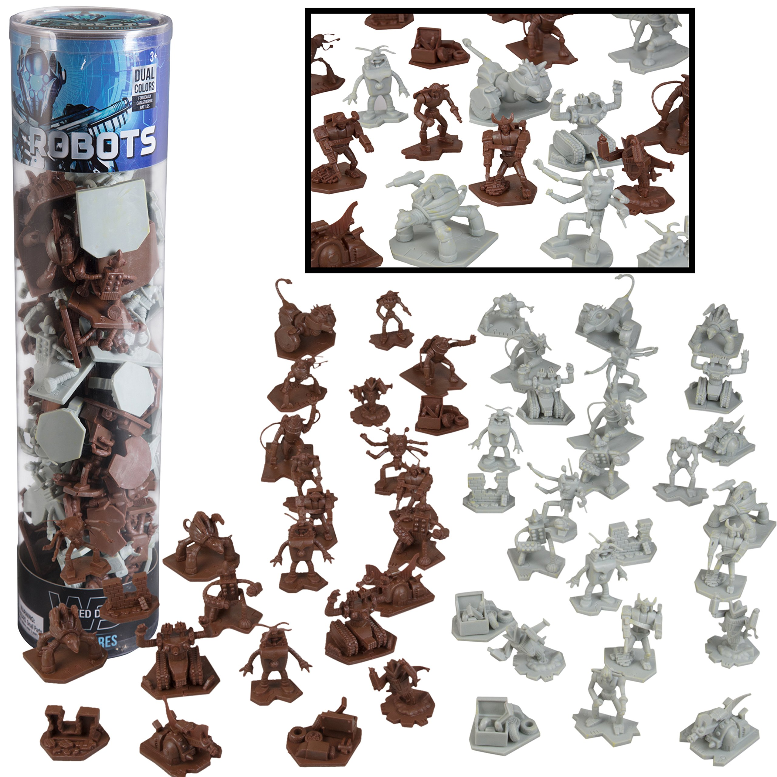 SCS Direct Robot Fantasy Sci-fi Action Figures - 52 Futuristic Space Battle Toys - with 14 Unique Characters - Great for Party Favors, Role Playing Games, Shadowrun, etc