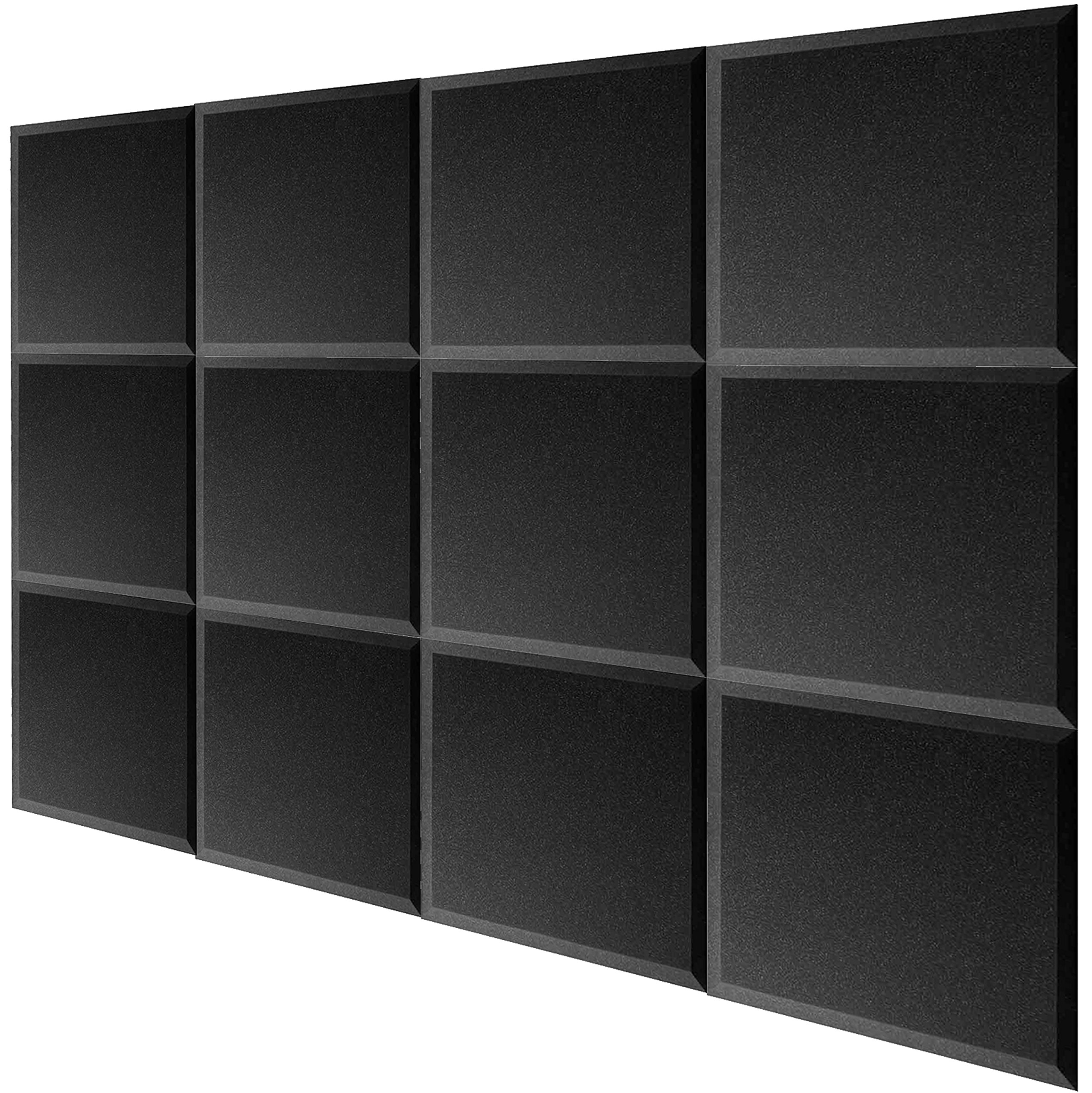 Mybecca 12 Pack Bevel Square Acoustic Foam Panel Bevel Tiles Soundproofing Wall 12 x 12 x 1 inch, Made in the USA - Color: Charcoal