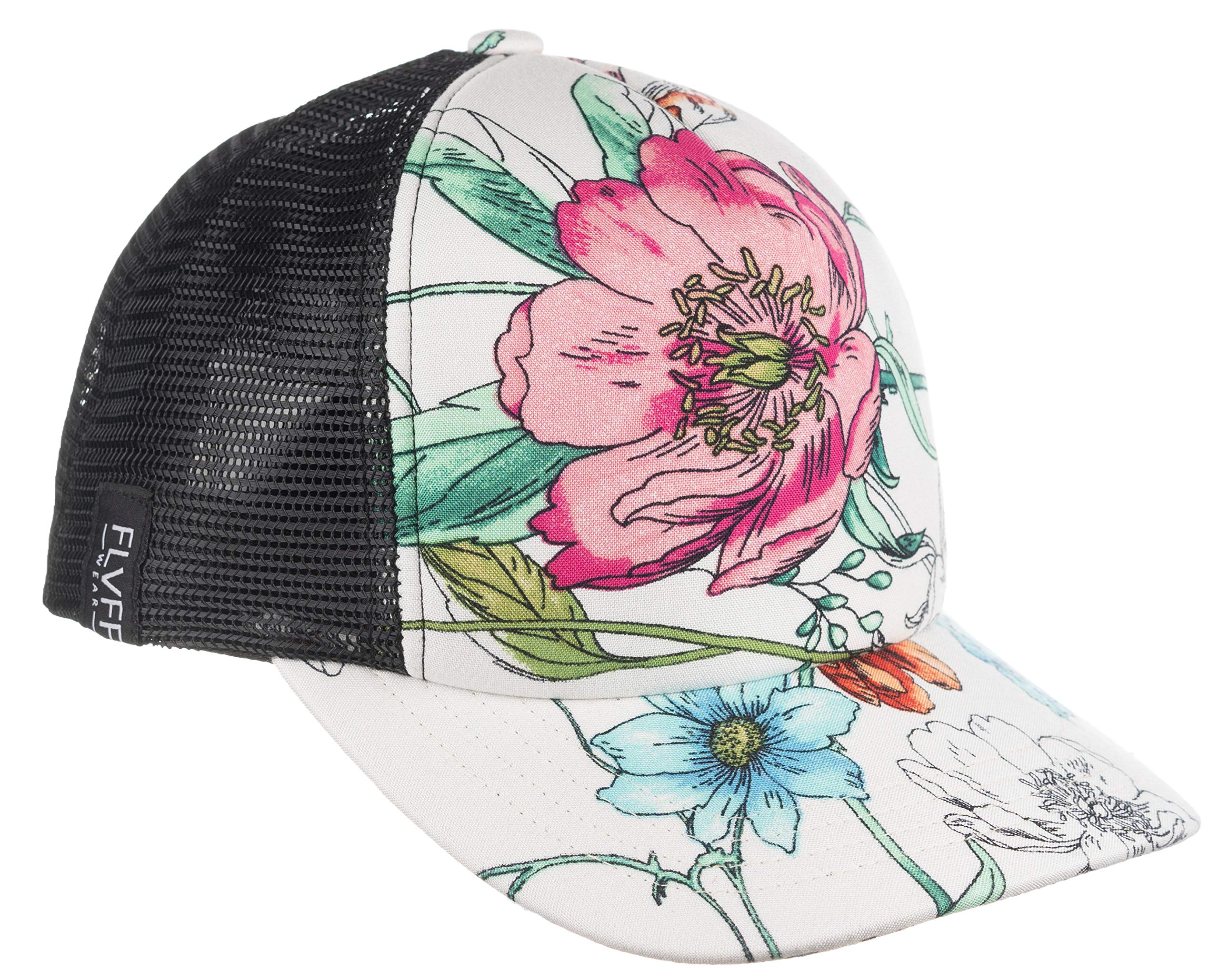 FLVFF Trucker Hat Floral Print Mesh Baseball Cap Adjustable Dad Hats for Women & Men Moldable Brim