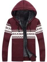 Lentta Men's Casual Slim Fit Full Zip Up Fleece Lined Hooded Cardigan Sweaters W Pockets