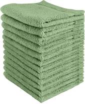 Utopia Towels - Premium Washcloths Set (12 x 12 Inches, Sage Green) - 600 GSM 100% Cotton Flannel Face Cloths, Highly Absorbent and Soft Feel Fingertip Towels (12-Pack)