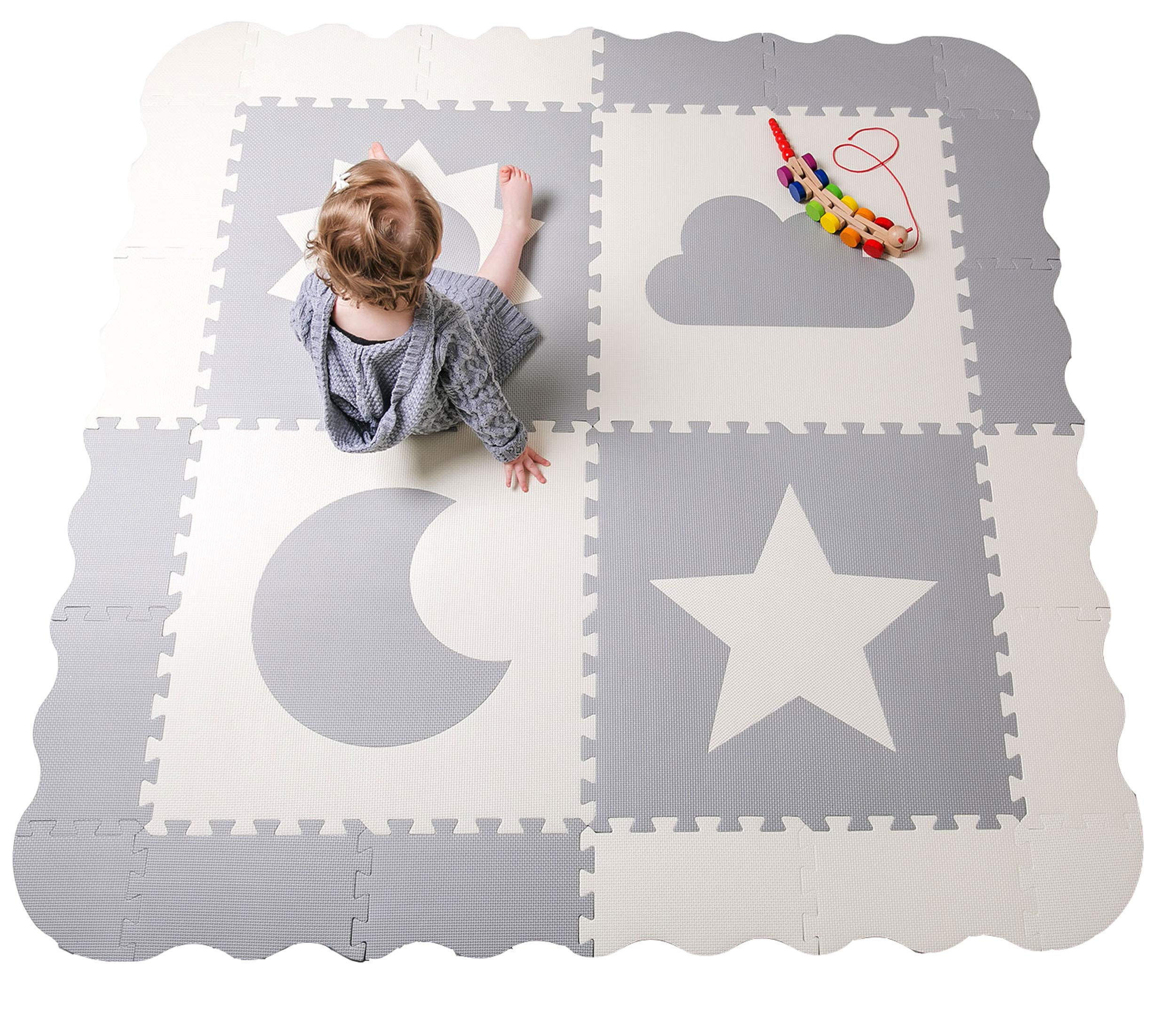 """Baby Play Mat Tiles - 61"""" x 61"""" Extra Large, Non Toxic Foam Baby Floor Mat - Grey & White Interlocking Playroom & Nursery Playmat - Safe & Protective for Infants & Toddlers (Grey)"""