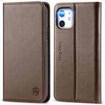 SHIELDON iPhone 11 Case, Genuine Leather iPhone 11 Wallet Flip Magnetic Cover RFID Blocking Card Slots Holder Kickstand TPU Shockproof Case Compatible with iPhone 11 (6.1 Inch, 2019) - Coffee Brown