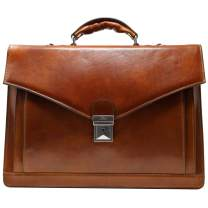 Floto Ponza Full Grain Leather Briefcase in Olive (Honey) Brown