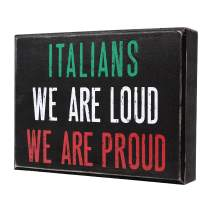 JennyGems Wood Sign, Italian Pride, Italians We are Loud We are Proud, Italian Theme Kitchen Wall Decor and Accessories - Italian Signs Italian Gifts