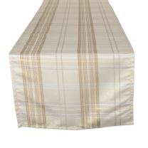 DII CAMZ10904 Machine Washable Kitchen Table Runner for Dinner Parties, Christmas, Holidays & Thanksgiving, 14x72, Cream Metallic Plaid