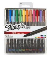 Sharpie Art Pens, Fine Point, Assorted Colors, Hard Case, 12 Pack (1982057)