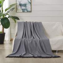 """JML Throw Blanket Soft Jacquard Organic Bamboo Cotton Throw Blanket with Tassels Shawls and Wraps Cotton Couch Blankets Suit for Scarf Travel Lap Bed Home Sofa Chair Adult,50"""" X 60""""-Wave Pattern Grey"""