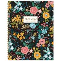 """2021-2022 Monthly Planner - 18-Month Planner with Tabs & Pocket, Contacts and Passwords, 8.5"""" x 11"""", Thick Paper, Jul. 2021 - Dec. 2022, Twin-Wire Binding - Black Floral"""