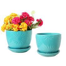MyGift Aqua Sunburst Design Ceramic Flower Planter Pots, Decorative Plant Containers with Saucers, Set of 2