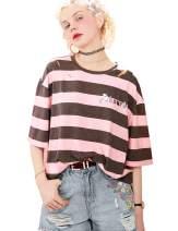 Elf Sack Women's Short Sleeve T Shirt Stripe Letter Print Summer Hole Loose Casual Fashion Tee