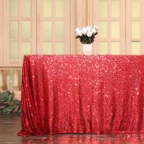 Eternal Beauty 60'' x 120'' Red Rectangular Sequin Tablecloth Shiny Sequins for Christmas Party/Wedding/Birthday/New Year (Red)