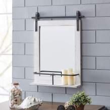 "FirsTime & Co. Ivywood Barn Door Shelf Wall Mirror, 25""H x 20""W, Rustic White, Aged Black"