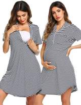 Ekouaer Womens Button Front Delivery/Labor/Maternity/Nursing Night Dress Pregnancy Nightgown for Breastfeeding