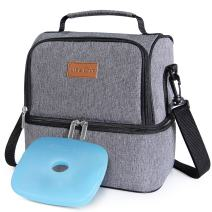 Lifewit 2 Compartment Lunch Box Insulated Lunch Bag Leakproof Thermal Bento Bag for Adults Men Women, 7L, Grey