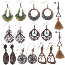 Coolcoco Fashion Metal Vintage Earrings Set with Dangle Pendant for Women Lady Girls Prime (8 Pieces/Set)