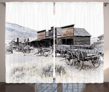 """Ambesonne Western Curtains, Old Wooden Wagons from 20's in Ghost Town Antique Wyoming Wheels Artwork Print, Living Room Bedroom Window Drapes 2 Panel Set, 108"""" X 108"""", White Gray"""