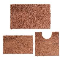Chenille Bathroom Rugs and mats Set of 3 Piece Bath Mats, Extra Soft and Absorbent Shaggy Rugs, Bathroom Rugs and mats Set, Machine Washable Bath mat Set for Tub, Shower, and Bath Room, Champagne