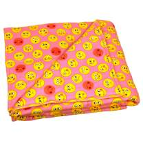 Calming Covers Weighted Blanket for Kids (6 lbs, 35 x 41, Pink Emojis Flannel)