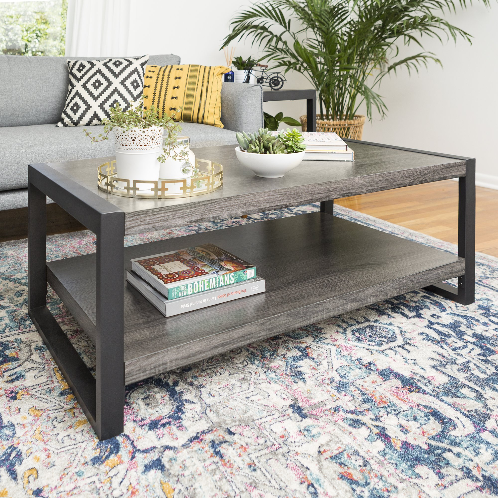 Walker Edison Furniture Company Industrial Modern Rectangle Metal Base and Wood Coffee Table Living Room Accent Ottoman, 48 Inch, Charcoal Grey