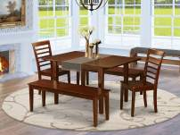 5 Pc Kitchen Table with bench -dinette Table with 2 Dining Chairs and 2 Benches