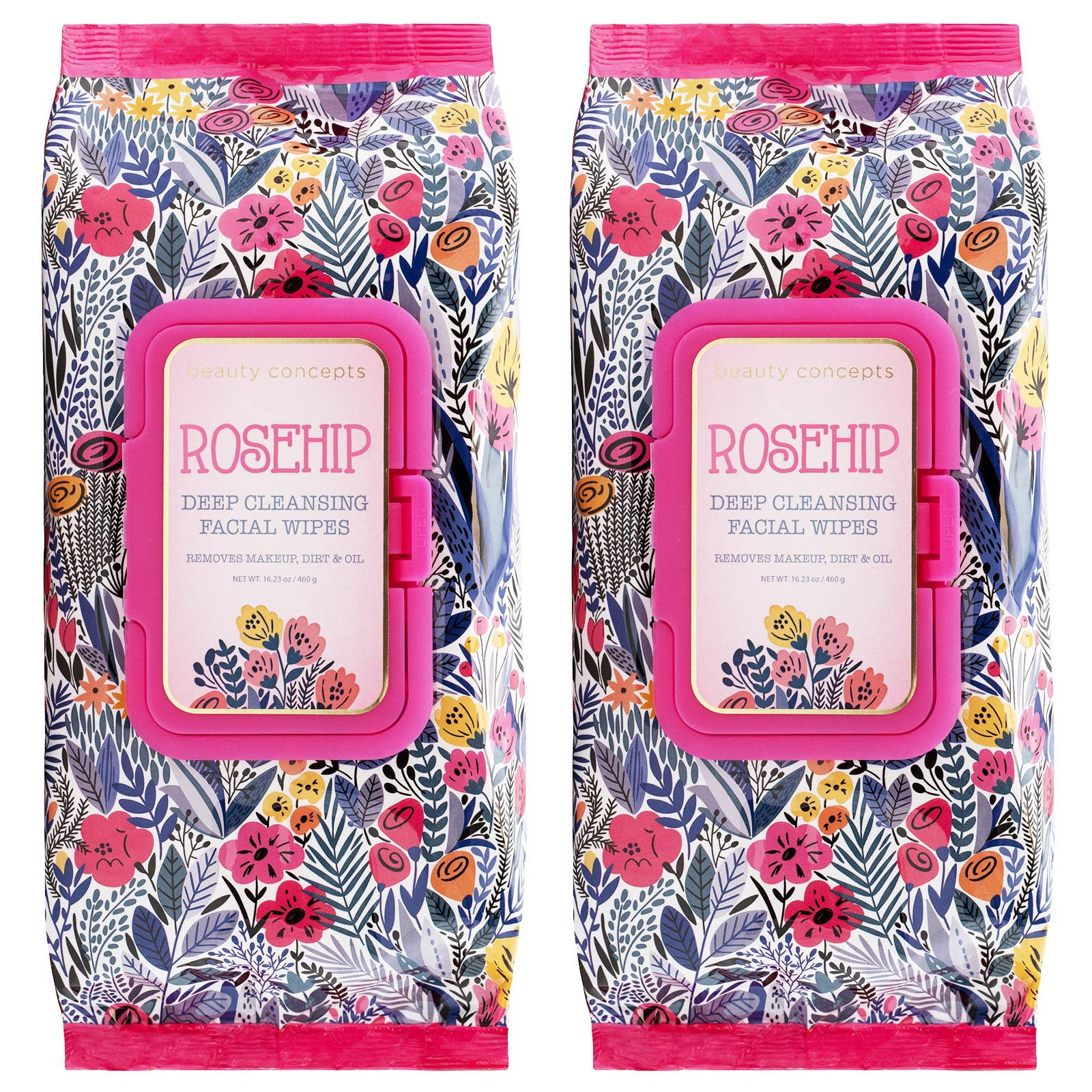Beauty Concepts Face Wipes & Makeup Remover Wipes - 2 Pack (60 Count Each) of Gentle Facial Towelettes – Flip Top Pack (Rosehip)